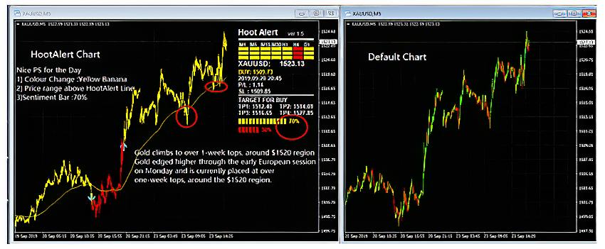 HootAlert Chart vs Standard Trading Chart