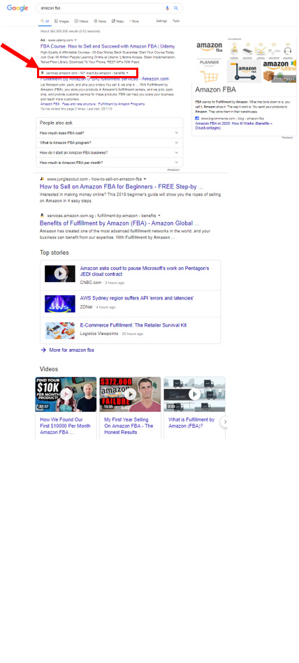 Google Search Amazon FBA